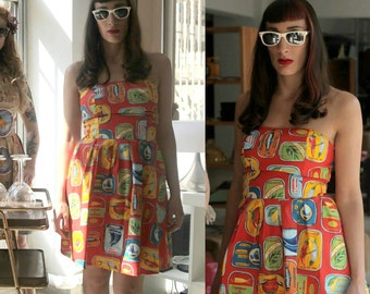 Red Summer Dress, Retro Print Cotton Dress, Strapless Printed Day Dress, Vintage Inspired Fabric, Made to Order