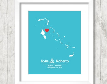 8x10 Bahamas Wedding Map - Nassau, Bahamas - Love Map - Destination Wedding - Caribbean Wedding - Engagement & Anniversary Gift - Newlyweds