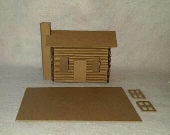 Little Village Cardboard Putz Style Log Cabin