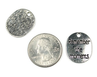 Antique Silver Remember the Moments Charms 2 QTY