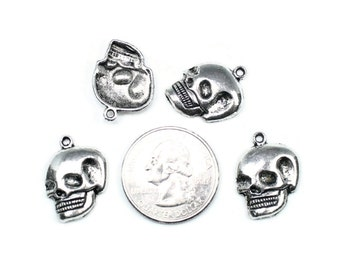 Antique Silver Skull Head Charms 8 QTY
