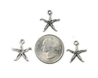 Antique Silver Starfish Charms 15 QTY (S1)