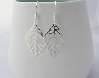 Silver Leaf Earrings, Leaf Earrings, Garden Leaf Earrings, Gifts for Girls, Gifts for Mom, UK Seller, Simple Leaf Earrings, Bridesmaid Gifts