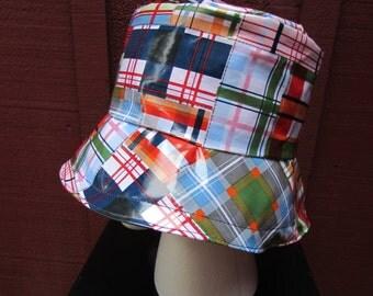 Women's Rain Hat - Bucket Hat - Laminated Cotton - Madras Print