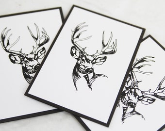 All Occasion Stag Note Card Set of Ten, Masculine Stationery Set, Thank You Cards for Men, Hand Made Sympathy Card Set