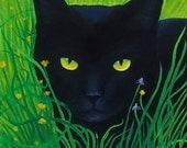 ART SALE 20% Reduction Black Cat Oil Painting Rosemary Daunis Art