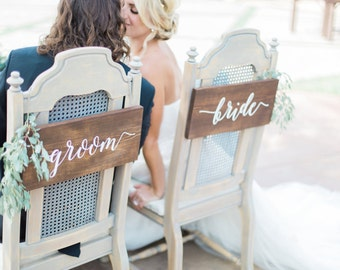 Bride & Groom Signs - Sweetheart Chair Signs - Wedding Signs