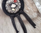 black leather wrapped dreamcatcher pendant, talisman necklace, leather fringe jewelry, nomads, native american, tribal jewelry