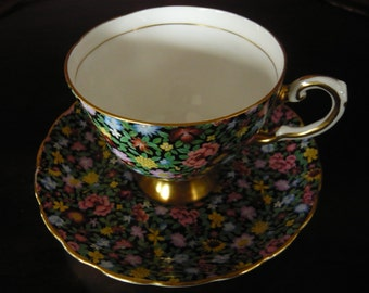Vintage Chintz MILLE FLEURS Tuscan Cup and Saucer