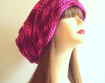 Multicolor Fuschia PInk Baggy Hat Dreadlock Hat Rasta Hat Oversized Hat Festival Hat