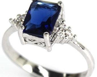 Beautiful Blue Tanzanite  / Cubic Zirconia Silver Ring Size 7 Perfect Gift