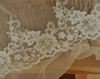 Ivory French Alencon Lace Trim with Floral for Veils, Wedding, Bridal Showers