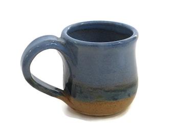 Coffee mug - gold, blue, and green cup - 10oz mug  -  glazed pottery stoneware mug - Fathers Day gift