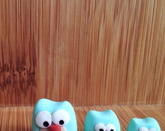 Micro Owls- Set of 3, small, smaller and smallest -powder blue