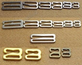 Lots 200pcs metal Hardware Hoops Lingerie Adjustment strap Bikini S Replacement Bra Hooks Clasps