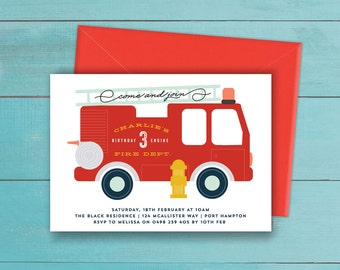 Fire Truck Invitation - Birthday Party printable - boys fire engine / fireman theme for 1st, 2nd, 3rd, 4th, 5th birthday (any age) -