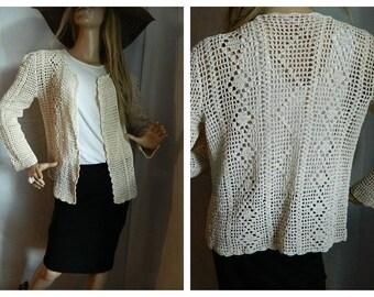 30% off Vintage Crochet Knit Beige Blazer Cardigan Size S-M