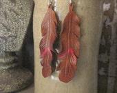 The Rojo Coachella Feather Earrings, Leather Feather Earrings, Leather Earrings, Gypsy Style Earrings, Boho Style Earrings
