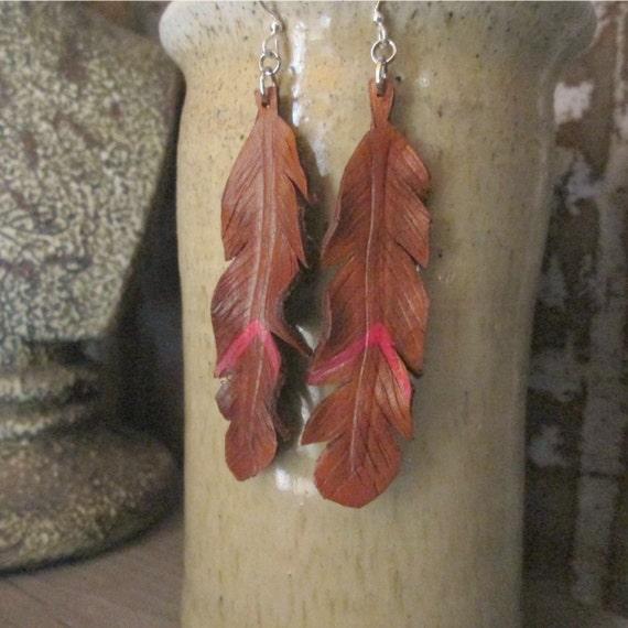 Leather Feather Earrings,Red Earrings, Feather Earrings, Leather Feather Earrings, Leather Earring, Earrings