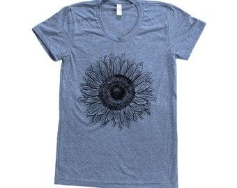 SUNFLOWER Shirt Women Custom Hand Screen Print Tri-Blend Short Sleeve Tshirt Available: S, M, L, XL