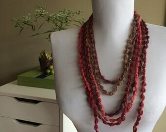 CHERRIES JUBILEE,  Crocheted  Necklace, Bracelet /  5 - 165