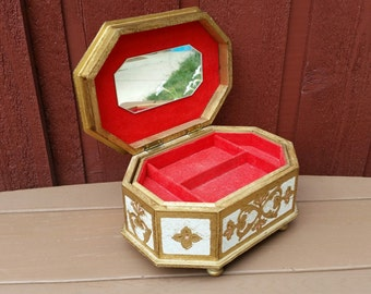 Vintage Mele Gold Jewelry Music Box - Love Story