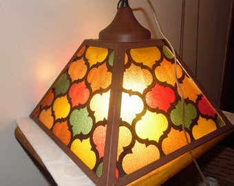 SALE Vintage Mid Century Multicolor Goth Stained Glass Chandelier Hanging Lamp
