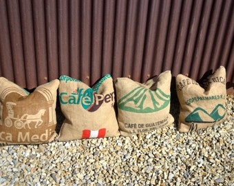Custom Coffee Sack Jute Burlap Accent Pillows