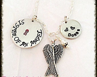 Handstamped Personalized Breast Cancer Awareness/memory necklace