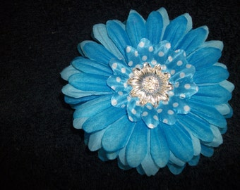 Blue Flower white Polka Dots Hair Clip - READY to SHIP