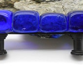 Cobalt Blue Glass Cabinet Pull, Beach Glass, Kitchen, Bathroom, Cabinet Fixture, Colored Glass, Beach Decor, Nautical Decor, Cottage,