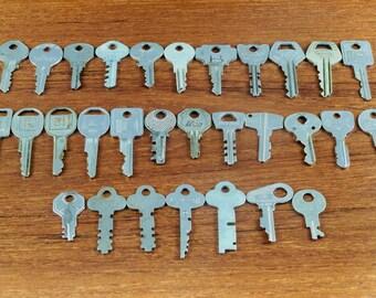 30 Old Vintage Silver Keys Cabinet Keys Door Keys Pad Lock Keys Flat Keys Steampunk Altered Art Mixed Media
