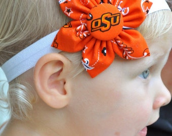 Free shipping! Oklahoma State University OSU 6 petal fabric flower headband for baby