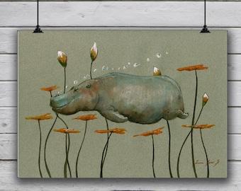 POSTER PRINT - Hippo Animal - African Hippopotamus - Africa wild art HIppo - wild animal poster print -by Juan Bosco