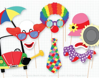 Circus Clown Photo Booth Props, Photobooth Props, Circus Birthday, Circus Clown Party, Clown Party Decor, Clown Centerpiece, Carnival Party