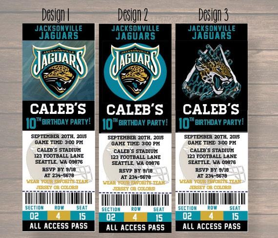 Jacksonville Jaguars Custom Party Ticket Invitations Birthday – Birthday Invitation Tickets