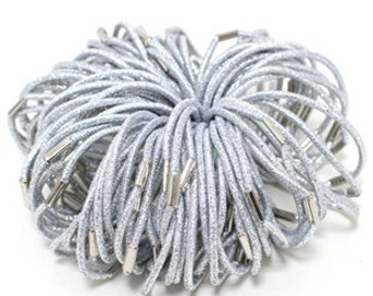 Annielov 100 pcs of 3mm Metaillic Silver Elastic Ponytail Holders Hair bands Hair accessories Wholesale lots stretch Hair ties