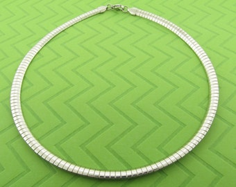 non-tarnishing stainless steel choker / omega necklace. 16 and 18 inches in length