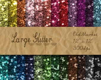 Large Glitter Digital Paper - Glitter Textures - Glitter Backgrounds -  24 Colors - 12in x 12in - Commercial Use -  INSTANT DOWNLOAD