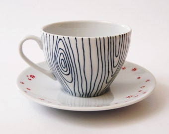 Me + You Hand-Painted Ceramic Teacup and Saucer