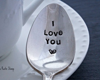 I Love You <3, Stamped Spoon, Vintage Spoon, Coffee Spoon, Tea Spoon, Anniversary Gift, Gift for Him, Gift for Her, Valentine's Day Gift
