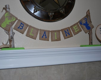 Custom Burlap Name Banner/Bunting - Birthday/Pictures/Baby Shower