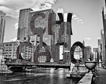 Chicago Typography Fine Art Photography, LaSalle Street Chitown, Chicago Souvenir, Illinois Art, Black and White, Vintage tint, Urban Art