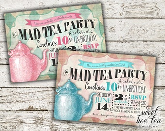 Boys Girls Alice in Wonderland Birthday Invitation - Any Age - Printable Invite - Tea Party  - White Rabbit - Queen of Hearts - Mad Hatter