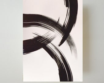 A2 Abstract art ink painting on paper-Original drawing,Movement gestual storm way water,large size,minimal contemporany by Cristina Ripper