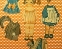 Early 1920's Original Dolly Dingle Cutouts Paper Dolls Julia Dingle with 4 Original Oufits from issues of Pictorial Review