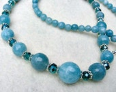 CLEARANCE SALE Aquamarine Gemstone  and Swarovski Crystal Beaded Necklace/Gifts for Women/Gifts for Her/Gemstone Necklace/Gift Guide