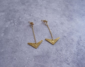 Small 24ct gold-plated textured geo earrings