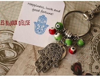 Sale - Yoga Keychain Swastika Buddha Keychain with Red and Green evil eyes beads and Hamsa Bag dangle Spirit Helper