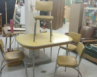 1950s Sunshine Yellow Formica Table with 4 Matching Chairs